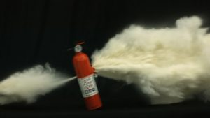 explosion of fire extinguisher or misfire